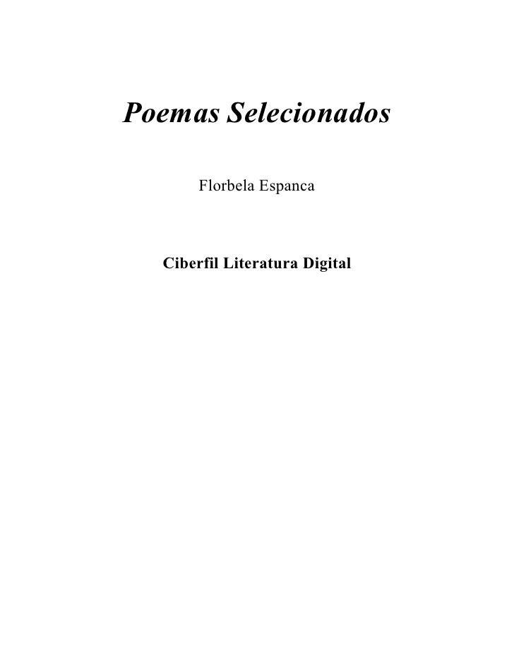 Poemas Selecionados       Florbela Espanca  Ciberfil Literatura Digital
