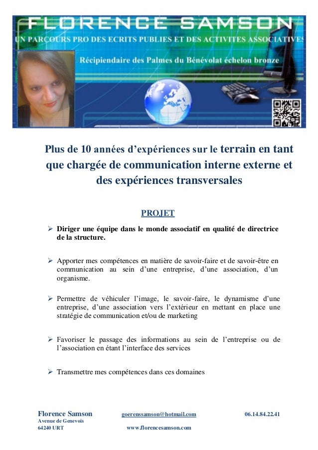 1 Florence Samson goerenssamson@hotmail.com 06.14.84.22.41 Avenue de Genevois 64240 URT www.florencesamson.com Plus de 10 ...