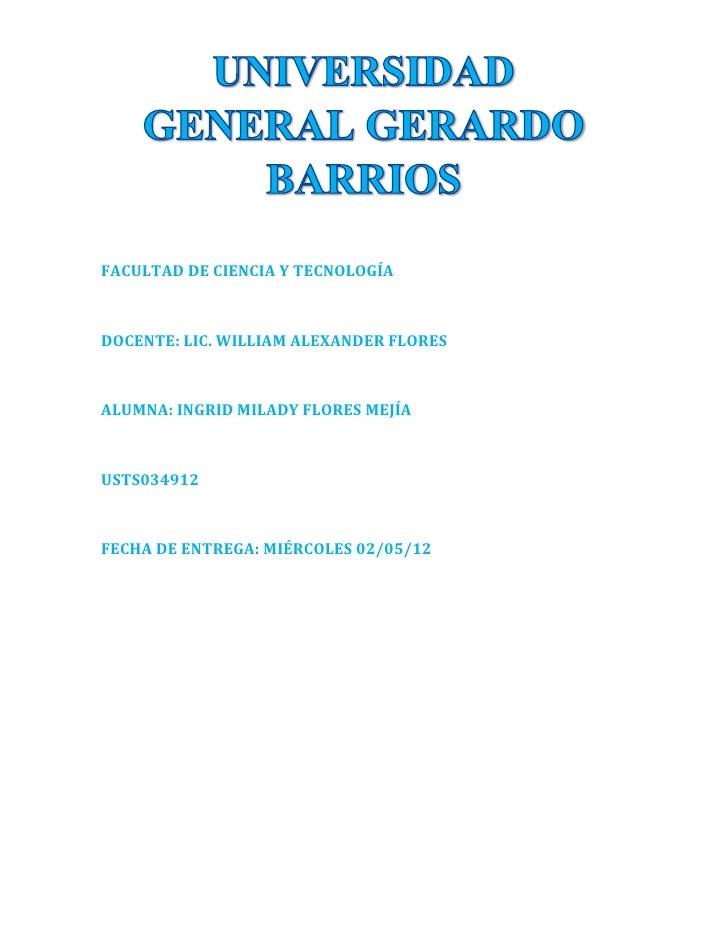 FACULTAD DE CIENCIA Y TECNOLOGÍADOCENTE: LIC. WILLIAM ALEXANDER FLORESALUMNA: INGRID MILADY FLORES MEJÍAUSTS034912FECHA DE...