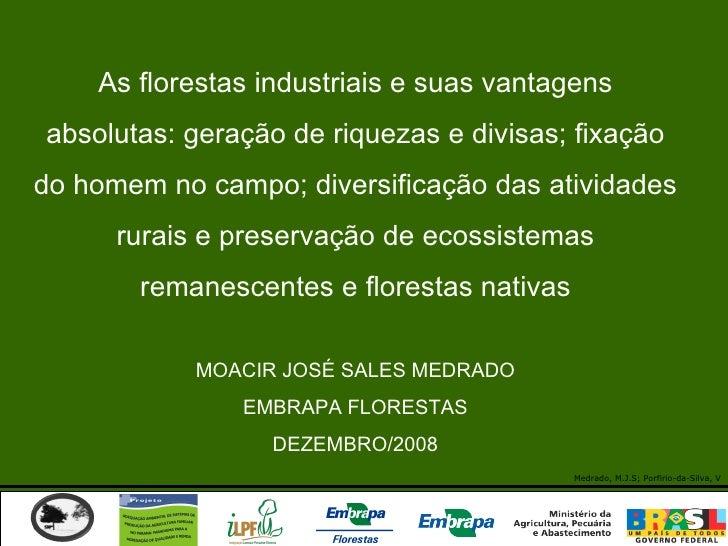 As florestas industriais e suas vantagens absolutas: geração de riquezas e divisas; fixação do homem no campo; diversifica...