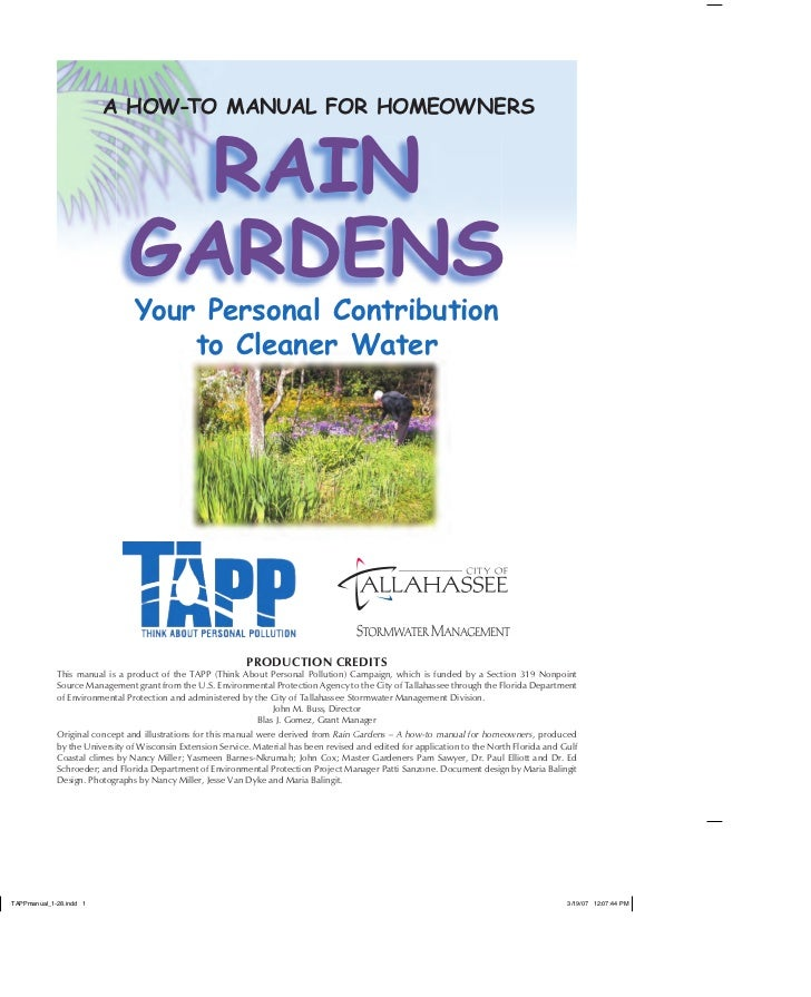 A HOW-TO MANUAL FOR HOMEOWNERS                    RAIN                  GARDENS                   Your Personal Contributi...