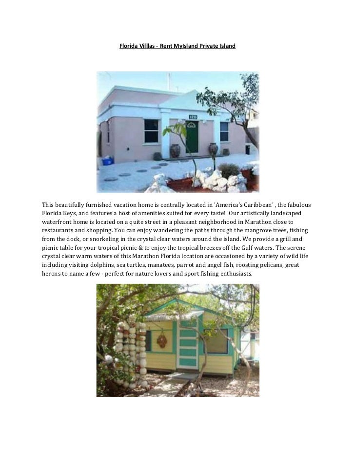 Florida Villlas - Rent MyIsland Private IslandThis beautifully furnished vacation home is centrally located in Americas Ca...