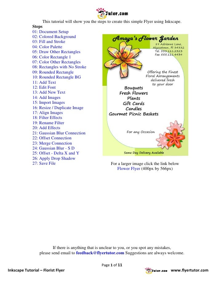 This tutorial will show you the steps to create this simple Flyer using Inkscape.               Steps               01: Do...