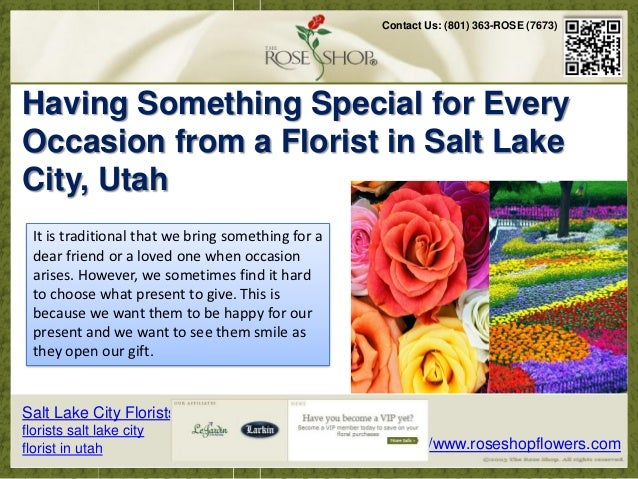 Florist in Utah - Having Something Special for Every Occasion from a Florist in Salt Lake City, Utah