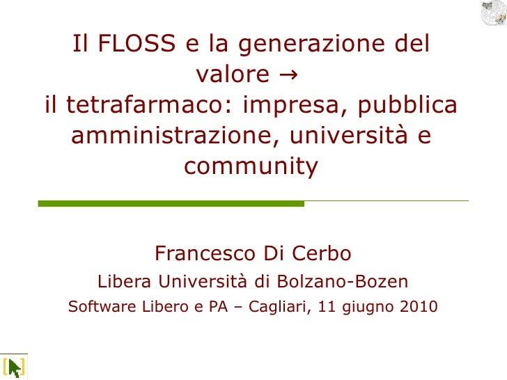 Il FLOSS e la generazione del               valore → il tetrafarmaco: impresa, pubblica    amministrazione, università e  ...