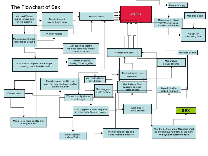 Man and Woman agree to have sex in the evening  The Flowchart of Sex Woman gets excited and starts to read a brochure  Man...