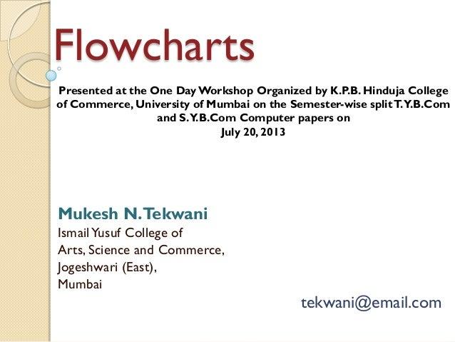 Flowcharts Mukesh N.Tekwani IsmailYusuf College of Arts, Science and Commerce, Jogeshwari (East), Mumbai tekwani@email.com...