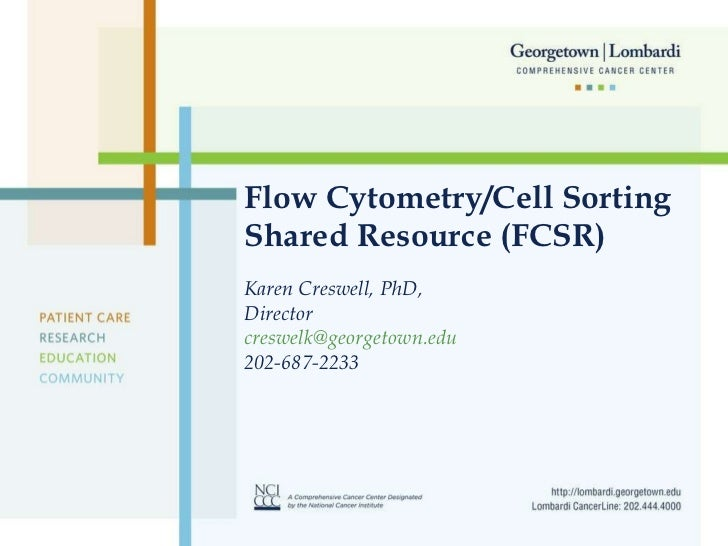 Flow Cytometry/Cell Sorting Shared Resource (FCSR) Karen Creswell, PhD,  Director [email_address] 202-687-2233