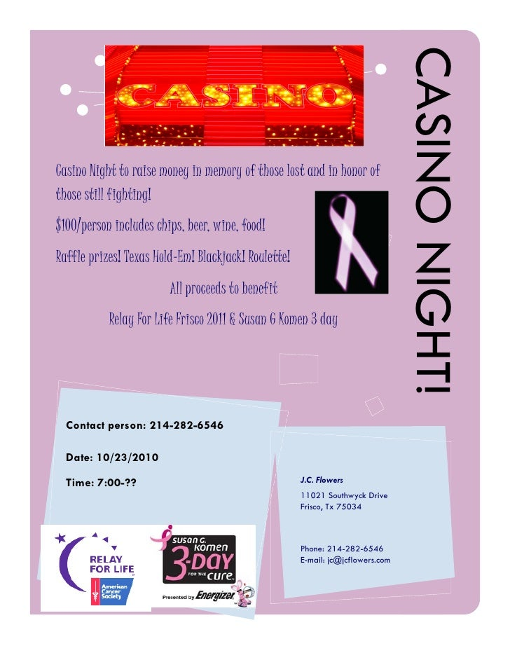 CASINO NIGHT! Casino Night to raise money in memory of those lost and in honor of those still fighting! $100/person includ...