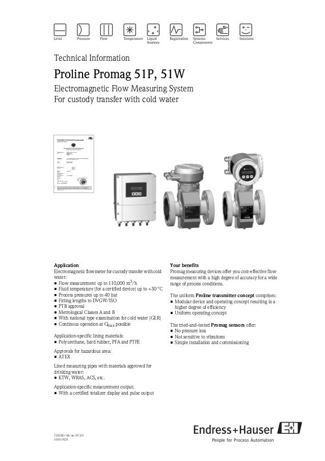 TI058D/06/en/07.0550101928Technical InformationProline Promag 51P, 51WElectromagnetic Flow Measuring SystemFor custody tra...