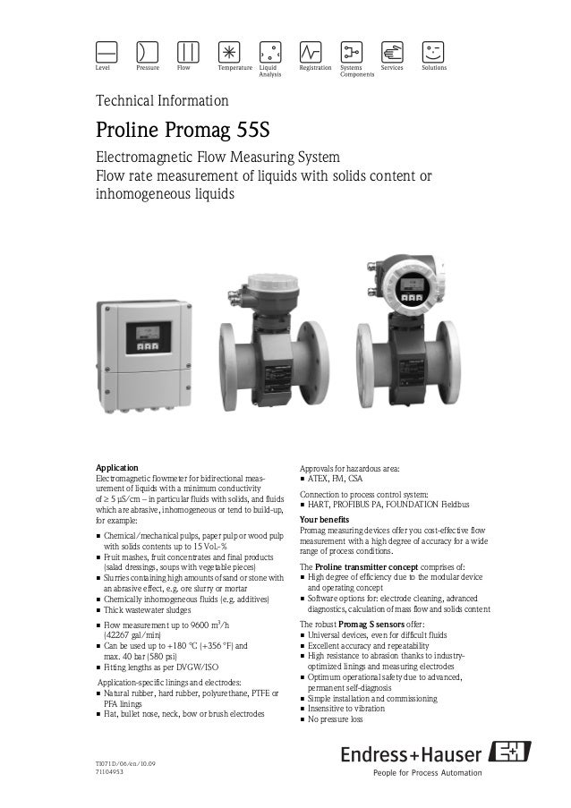 TI071D/06/en/10.0971104953Technical InformationProline Promag 55SElectromagnetic Flow Measuring SystemFlow rate measuremen...
