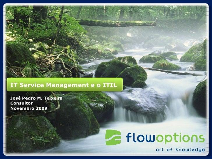 IT Service Management e o ITIL José Pedro M. Teixeira Consultor Novembro 2009