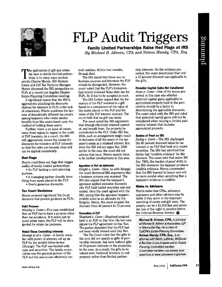 FLP Audit Triggers: Family Limited Partnerships Raise Red Flags at IRS