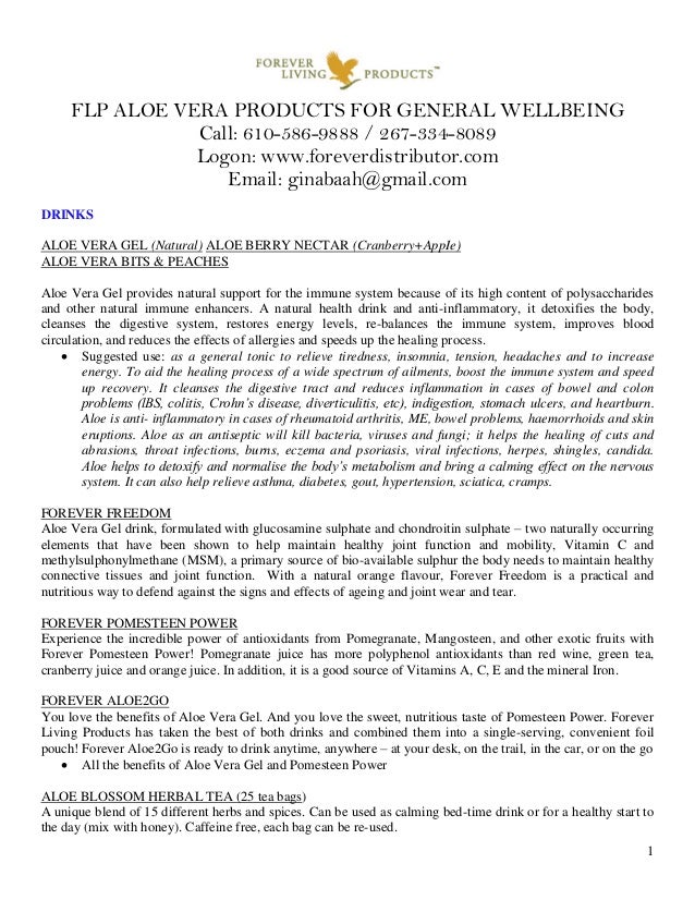 FLP ALOE VERA PRODUCTS FOR GENERAL WELLBEING Call: 610-586-9888 / 267-334-8089 Logon: www.foreverdistributor.com Email: gi...
