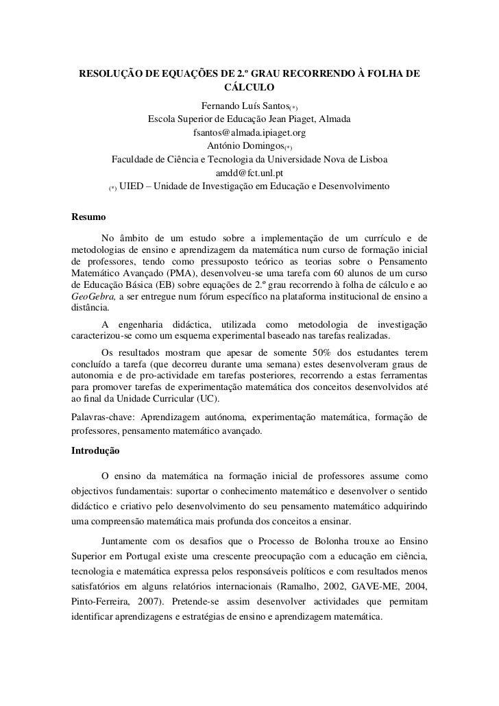 RESOLUÇÃO DE EQUAÇÕES DE 2.º GRAU RECORRENDO À FOLHA DE                        CÁLCULO                               Ferna...