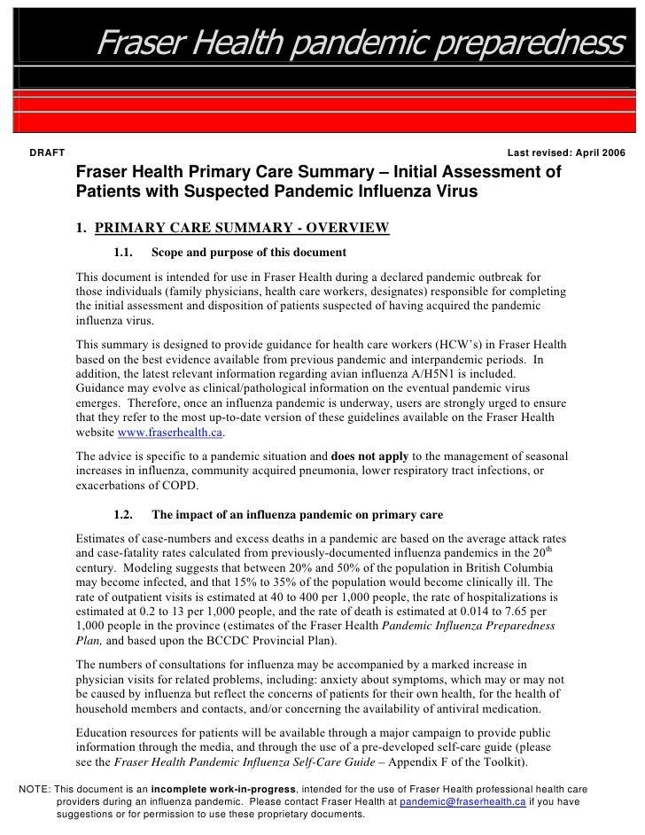 Fraser Health pandemic preparedness    DRAFT                                                                              ...