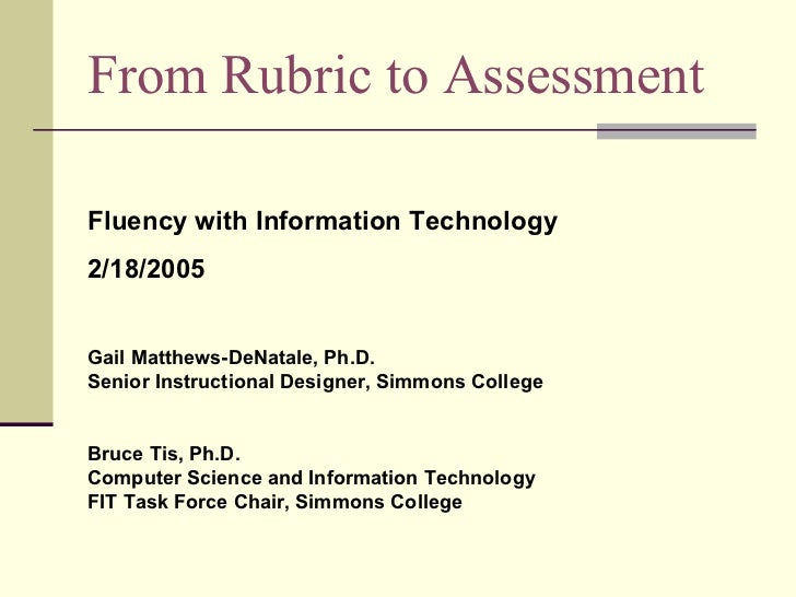 From Rubric to Assessment Fluency with Information Technology  2/18/2005 Gail Matthews-DeNatale, Ph.D. Senior Instructiona...