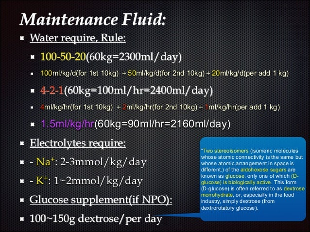 Maintenance fluid adults