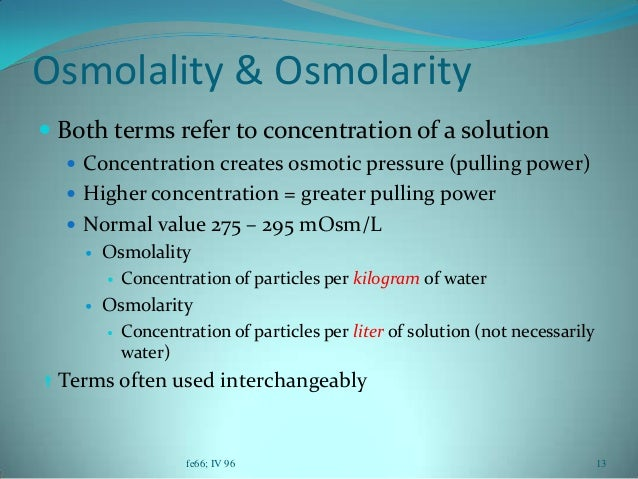 osmolarity and solute concentration relationship questions