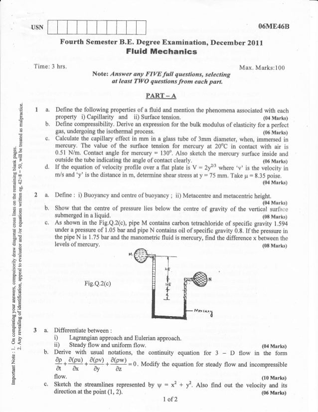 Fluid mechanics Question papers