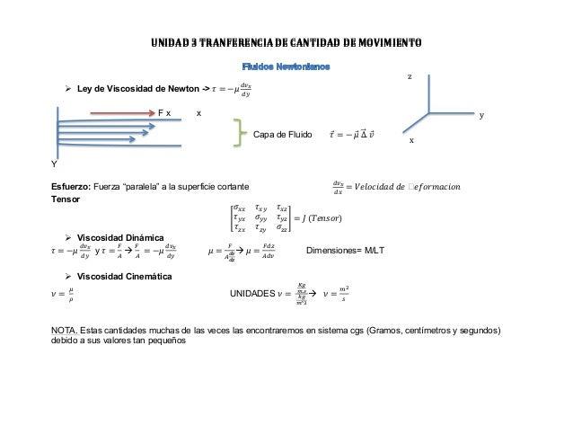 UNIDAD  3  TRANFERENCIA  DE  CANTIDAD  DE  MOVIMIENTO   z   Ø Ley de Viscosidad de Newton ...