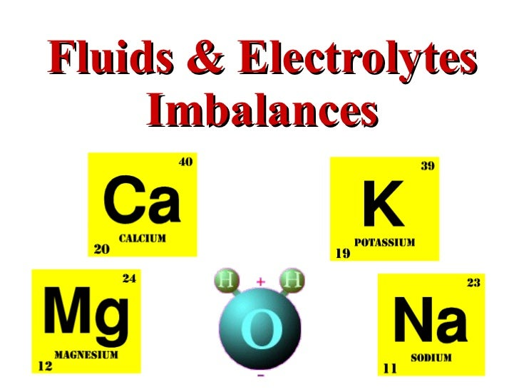 fluid and electrolyte imbalances Fluid and electrolyte balance the kidneys are essential for regulating the volume and composition of bodily fluids this page outlines key regulatory systems involving the kidneys for controlling volume, sodium and potassium concentrations, and the ph of bodily fluids.