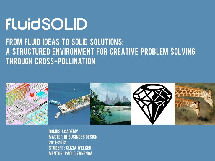 FluidSOLIDFrom fluid ideas to solid solutions:A structured environment for creative problem solvingTHROUGH cross-pollinati...