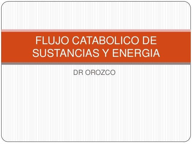 FLUJO CATABOLICO DESUSTANCIAS Y ENERGIA      DR OROZCO
