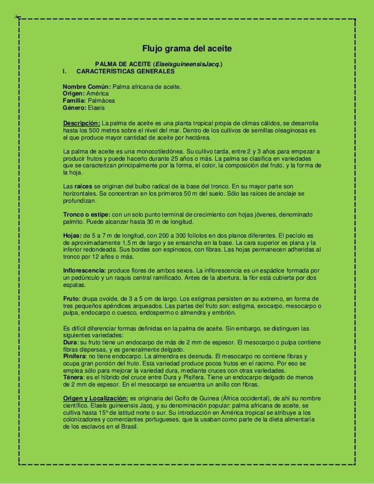Flujo grama del aceite<br />PALMA DE ACEITE (Elaeis guineensis Jacq.)<br />I. CARACTERÍSTICAS GENERALES <br /> <br /...