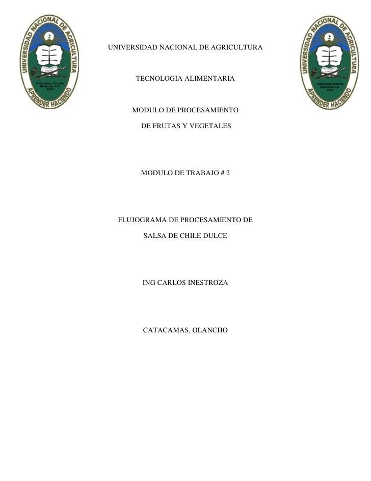 UNIVERSIDAD NACIONAL DE AGRICULTURA      TECNOLOGIA ALIMENTARIA     MODULO DE PROCESAMIENTO       DE FRUTAS Y VEGETALES   ...