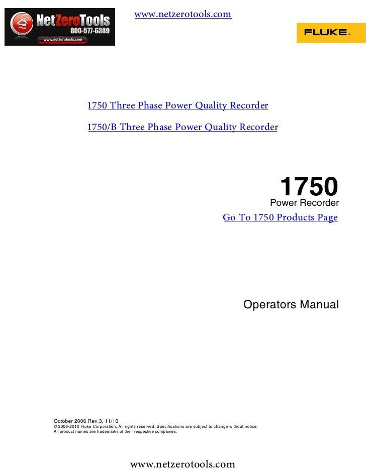 Fluke 1750 Manual