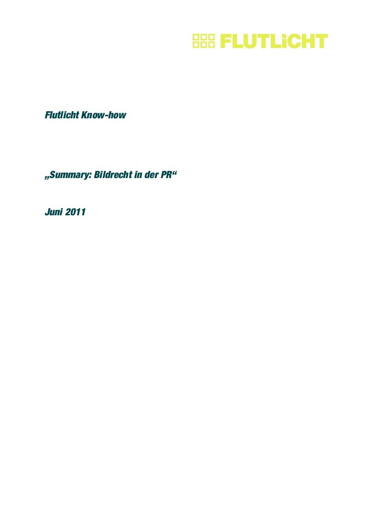 """Flutlicht Know-how""""Summary: Bildrecht in der PR""""Juni 2011"""