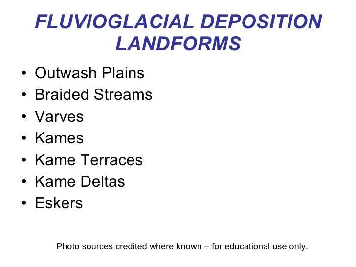FLUVIOGLACIAL DEPOSITION LANDFORMS <ul><li>Outwash Plains </li></ul><ul><li>Braided Streams </li></ul><ul><li>Varves </li>...