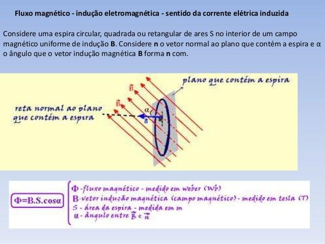 Fluxo magnético - indução eletromagnética - sentido da corrente elétrica induzida  Considere uma espira circular, quadrada...