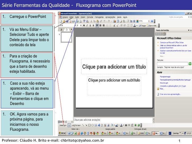 Série Ferramentas da Qualidade -  Fluxograma com PowerPoint Professor: Cláudio H. Brito e-mail: chbritotqc@yahoo.com.br <u...