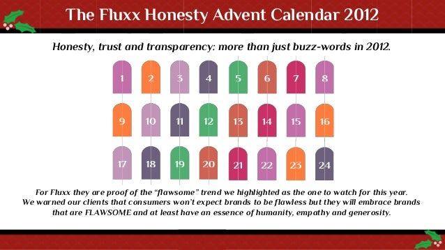 The Fluxx Honesty Advent Calendar 2012       Honesty, trust and transparency: more than just buzz-words in 2012.   For Flu...