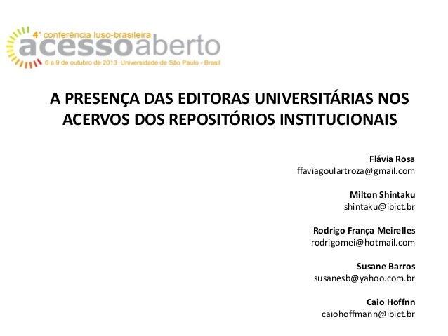 A presença das editoras universitárias nos acervos dos repositórios institucionais