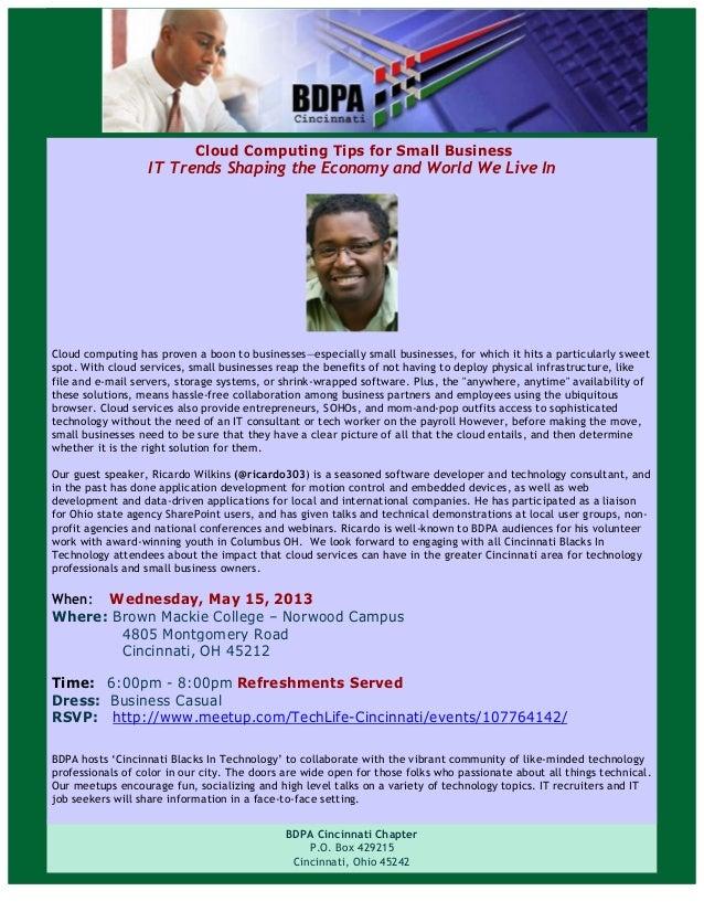 Flyer: Cincinnati Blacks In Technology (May 2013)