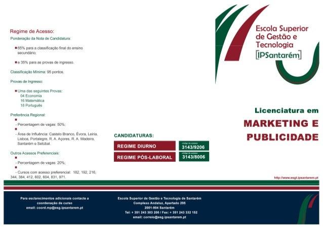Licenciatura em Marketing e Publicidade ESGTS 2013