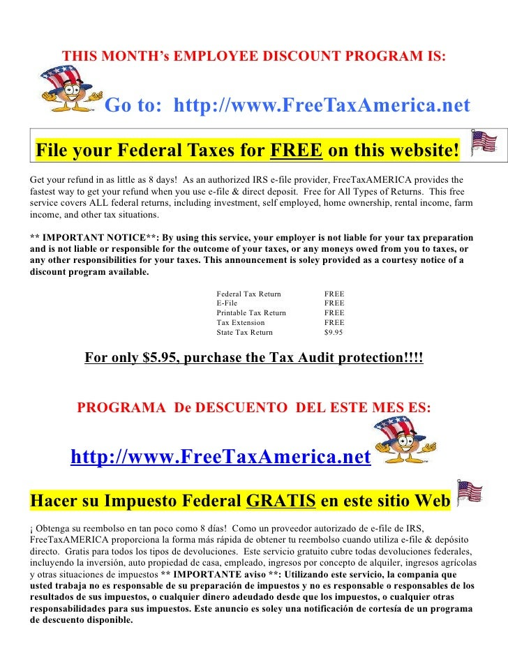Employee Benefit Flyer - Tax Filing Discount Eng & Spanish