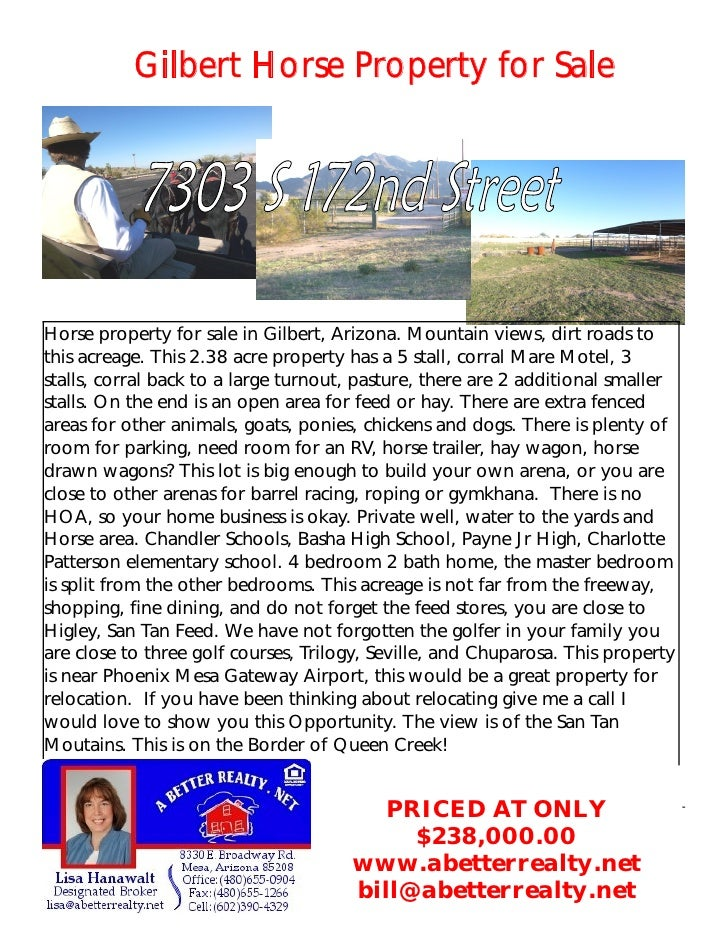 Gilbert Horse Property for Sale     Horse property for sale in Gilbert, Arizona. Mountain views, dirt roads to this acreag...