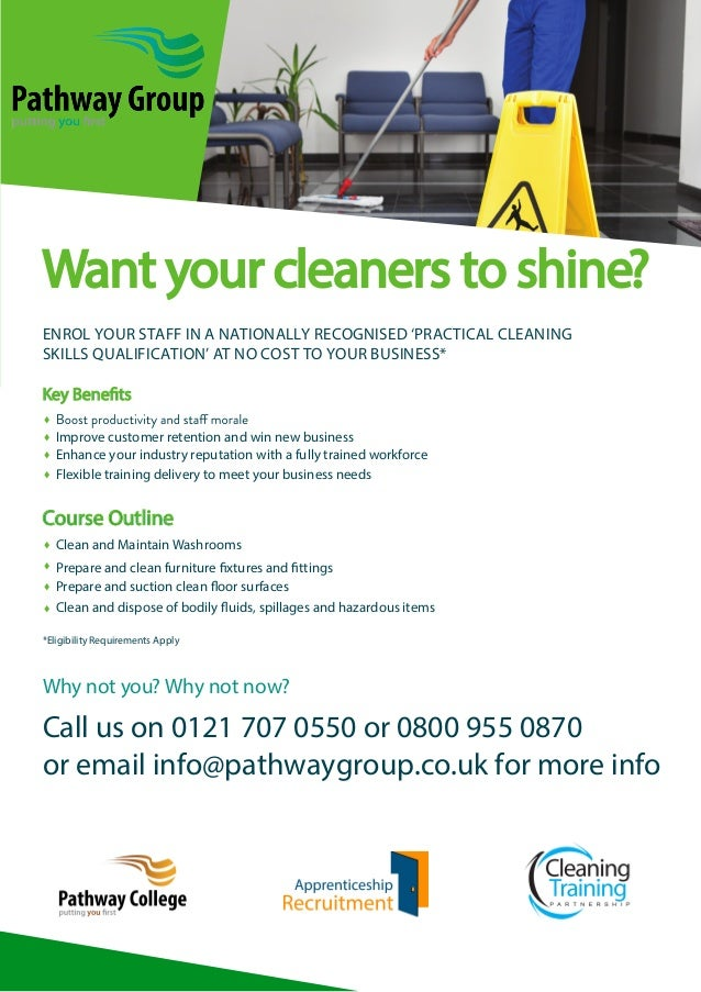 Want your cleaners to shine? ENROL YOUR STAFF IN A NATIONALLY RECOGNISED 'PRACTICAL CLEANING SKILLS QUALIFICATION' AT NO C...
