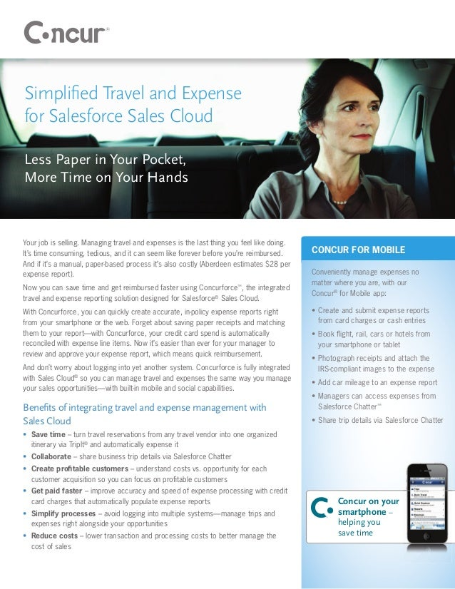 Simplified Travel and Expensefor Salesforce Sales CloudLess Paper in Your Pocket,More Time on Your HandsYour job is selling...