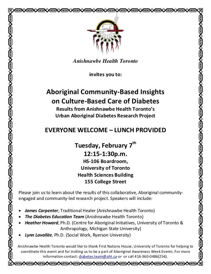 Anishnawbe Health Toronto                                         invites you to:                Aboriginal Community-Base...