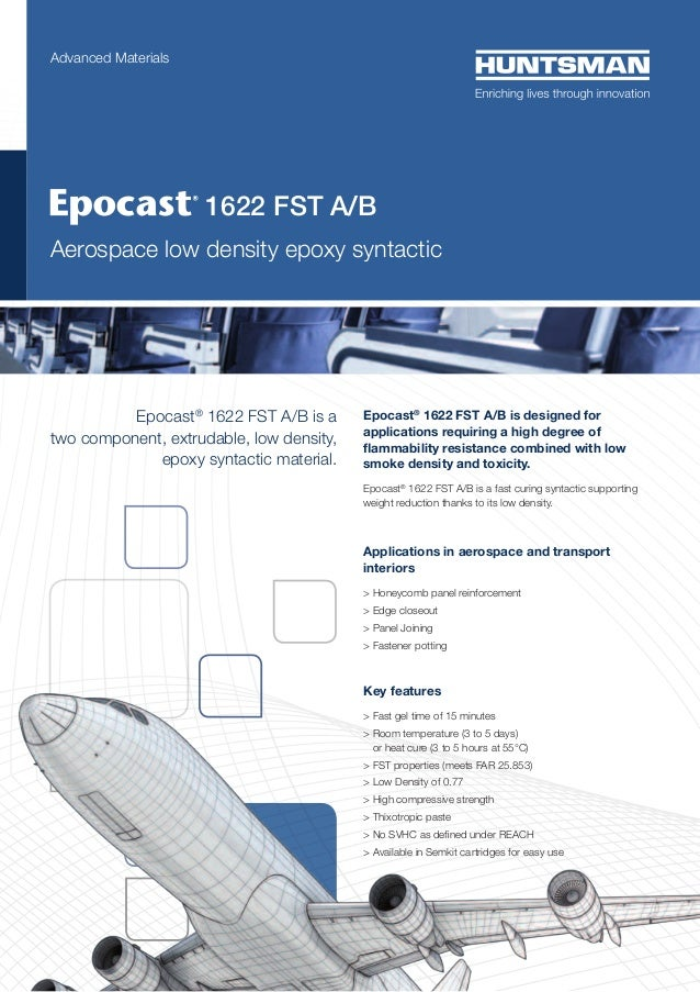Advanced Materials  	  1622 FST A/B  Aerospace low density epoxy syntactic  Epocast® 1622 FST A/B is a two component, extr...