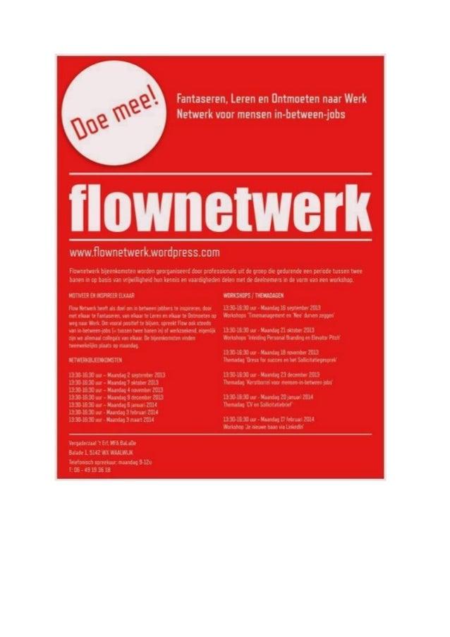 Flyer Najaar 2013 - FLOW Netwerk Waalwijk