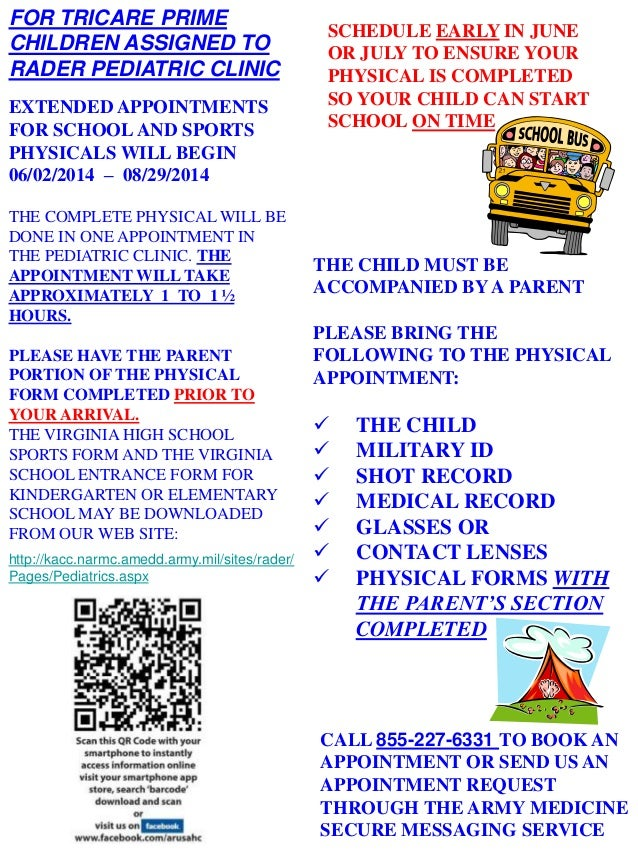 EXTENDED APPOINTMENTS FOR SCHOOL AND SPORTS PHYSICALS WILL BEGIN 06/02/2014 – 08/29/2014 THE COMPLETE PHYSICAL WILL BE DON...