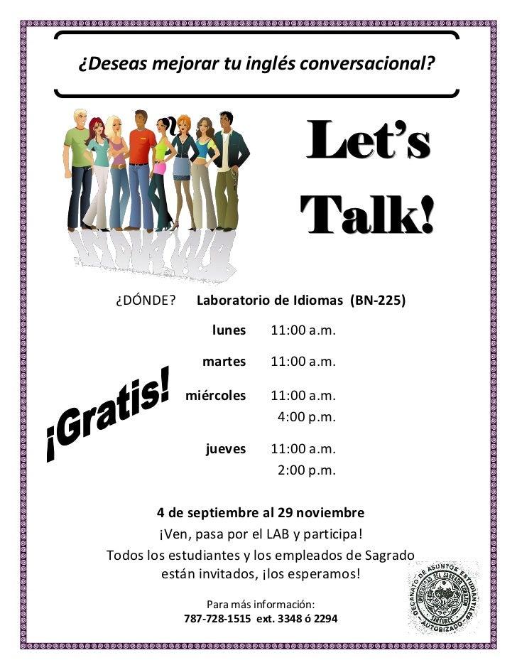 ¿Deseas mejorar tu inglés conversacional?                                                               Let s    ...