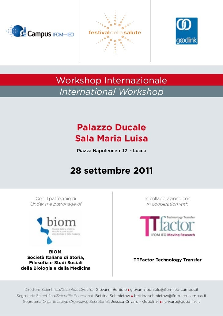 Workshop Internazionale                     International Workshop                                Palazzo Ducale          ...