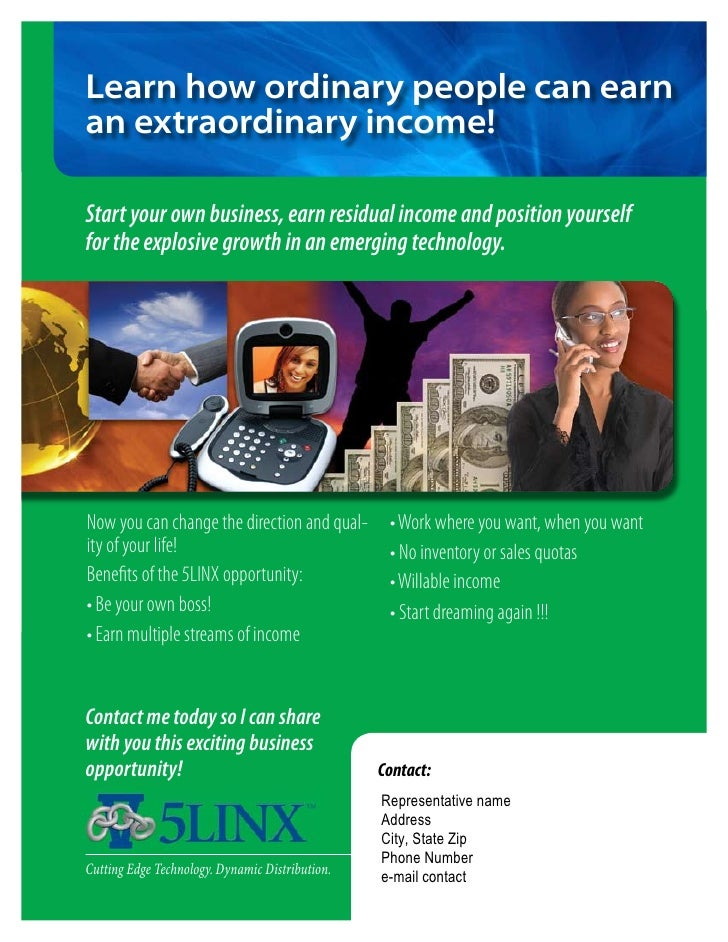 Learn how ordinary people can earn an extraordinary income!  Start your own business, earn residual income and position yo...